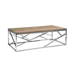 15″ Walnut Veneer and Steel Coffee Table