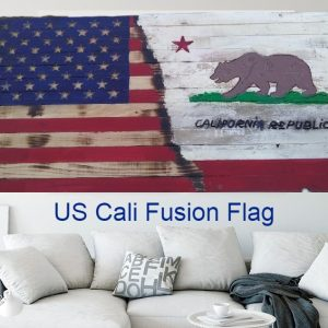 "Large Handmade Wood Rustic Fusion of American & California flags 36"" X 19.5"" Charred Pine and Sealed."