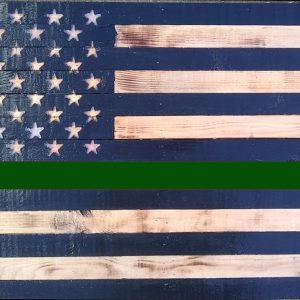 "Thin Green Line USA American Flag 36"" X 19.5"" Charred Pine and Sealed. Handmade"