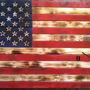 Large Handmade Wood Rustic American Flag with Clock