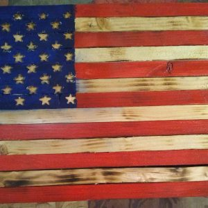 "Small Handmade Wood Rustic American Flag 24"" X 13"" Charred Pine and Sealed."