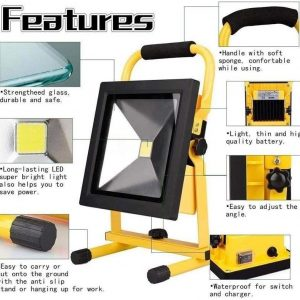 LED Portable Portable Emergency Flood Light, Outdoor Light Work Light, 30W Mobile Spotlight, Engineering Emergency Waterproof Searchlight, Strong Light Rechargeable Flood Light