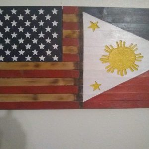"FilAm  US & Philippine flag Fusion Large Handmade Wood Rustic flag 36"" X 19.5"" Charred Pine and Sealed."