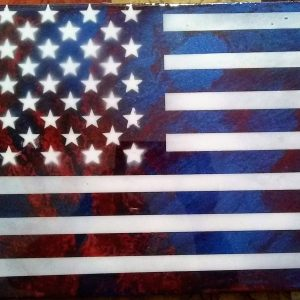 "Flag Art Epoxy Finish Large 36"" x 19.5"" #2"