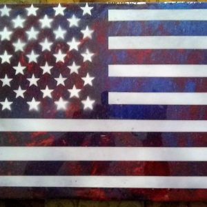 "Flag Art Epoxy Finish Small 24"" x 12"" #2"
